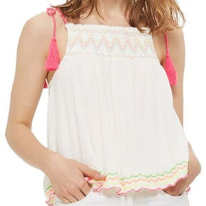 Topshop Ivory Floaty Dress Tank Top Cami Pink Rope